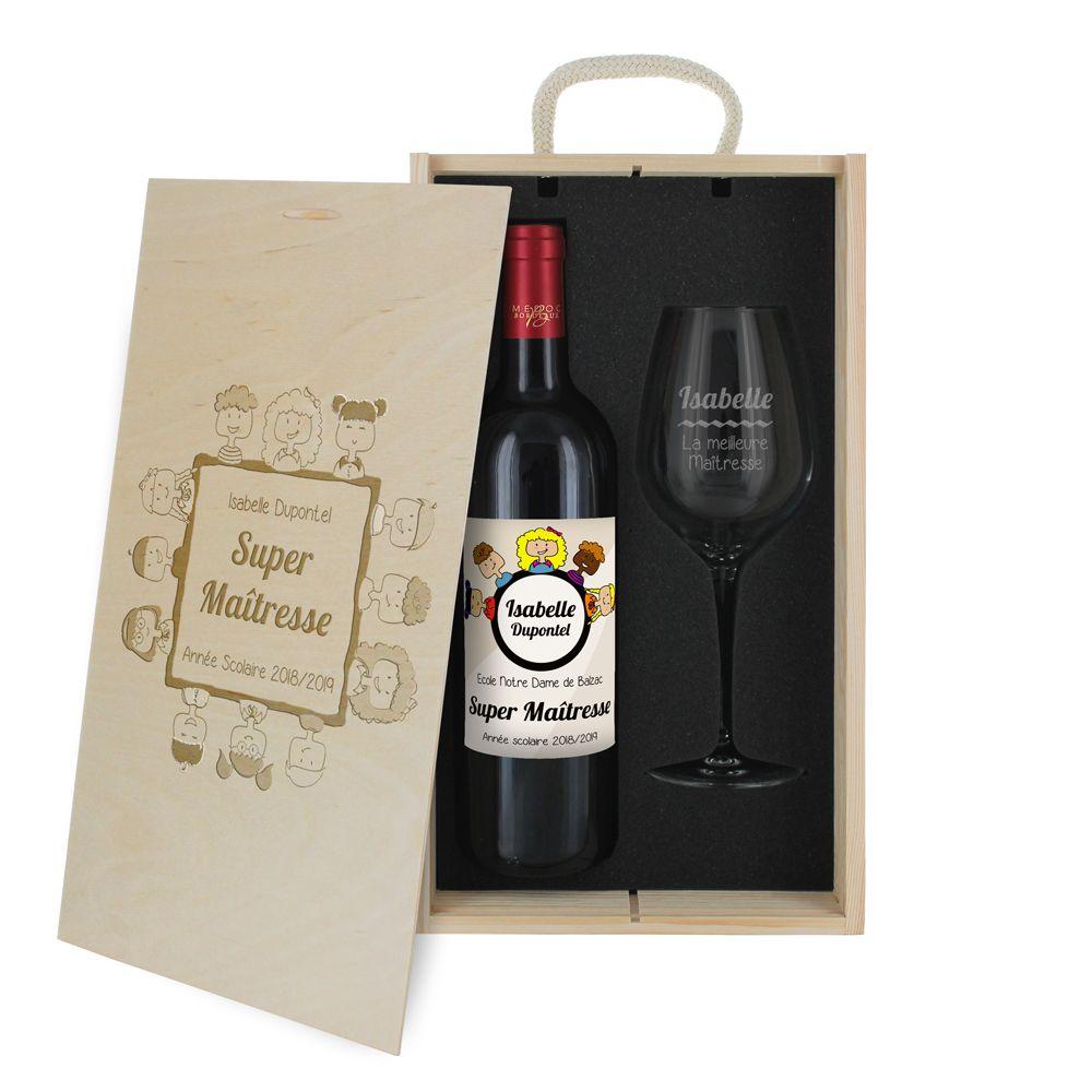 Amikado Coffret à vin 2 pièces personnalisé Merci Maitresse