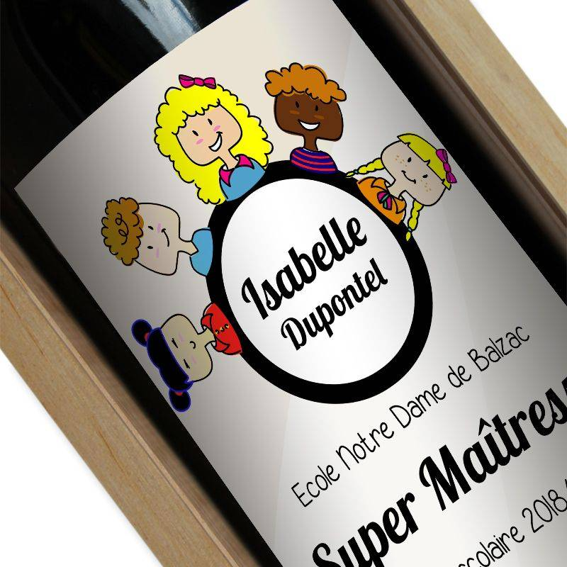 Amikado Bouteille de vin personnalisée Merci Maîtresse