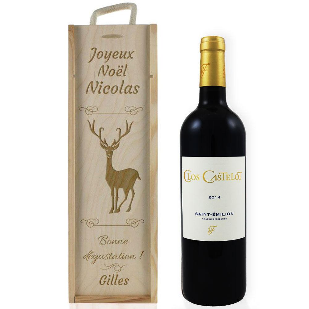 Amikado Caisse à vin de Noël gravée