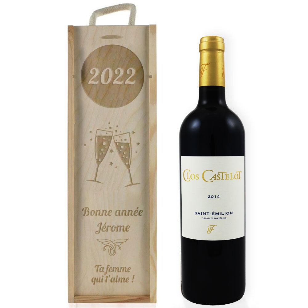 Amikado Caisse à vin nouvel an gravée