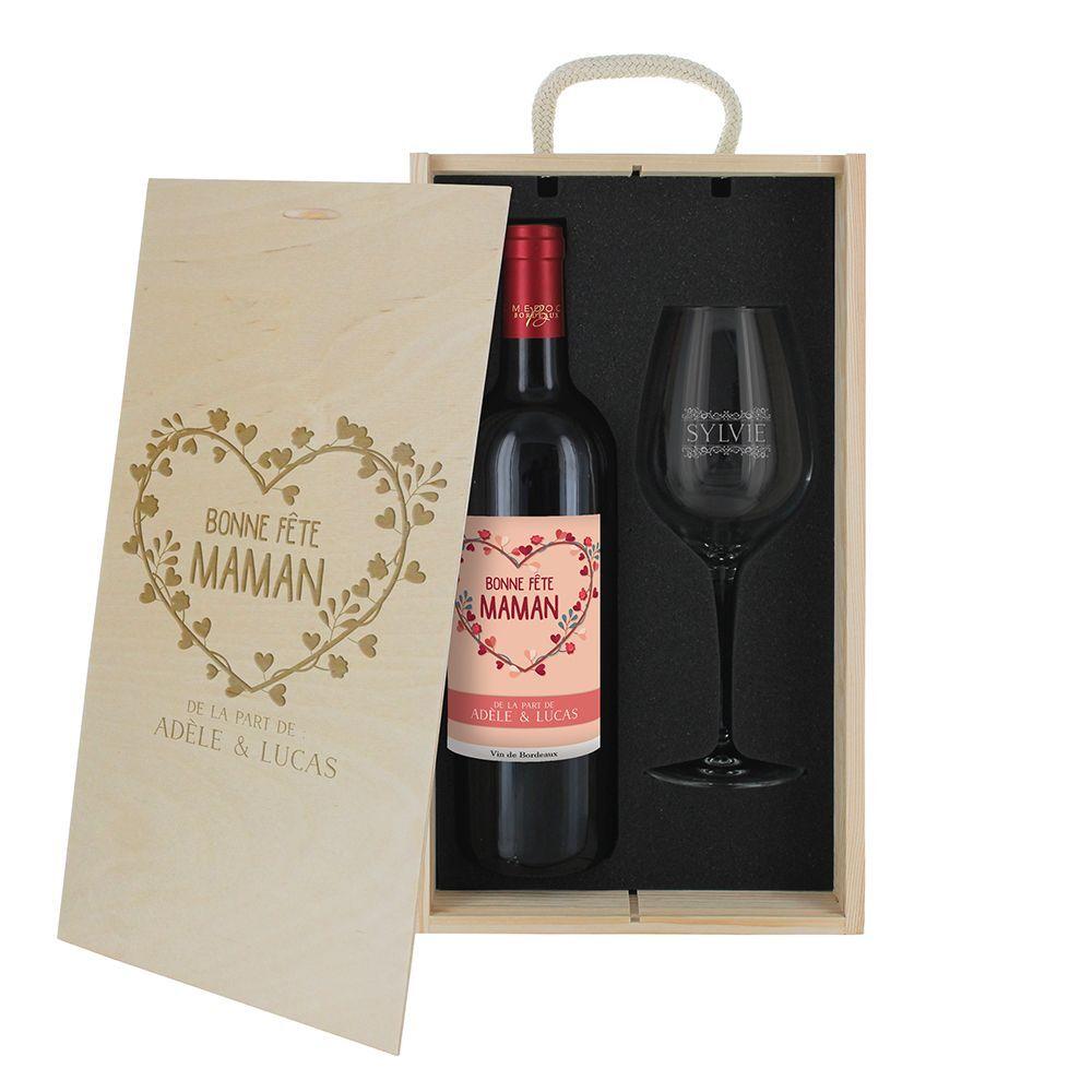 Amikado Coffret à vin 2 pièces personnalisé Bonne fête Maman