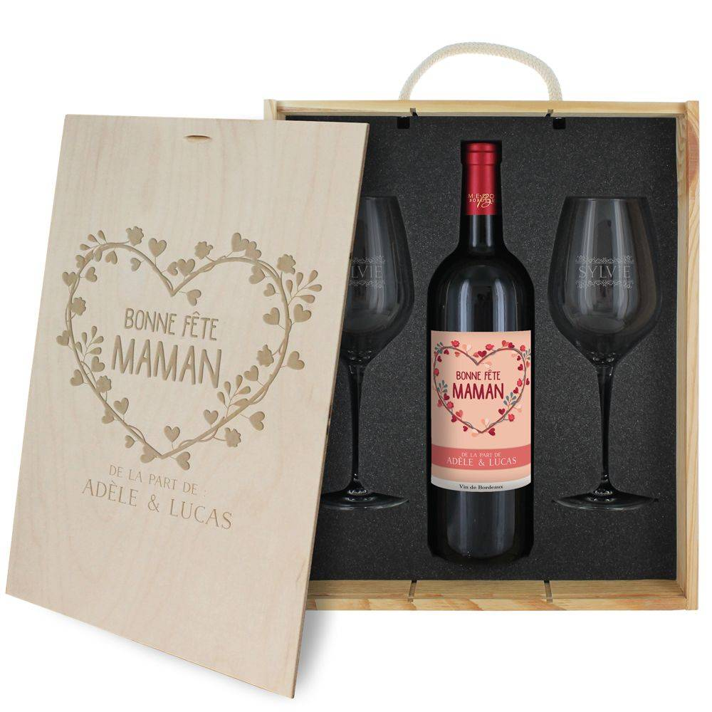 Amikado Coffret à vin 3 pièces personnalisé Bonne fête Maman