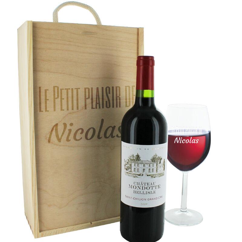 Amikado Coffret bouteille de vin et verre gravés texte