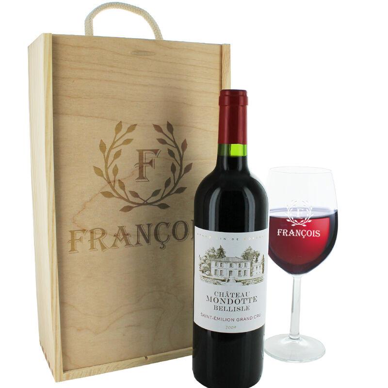 Amikado Coffret cadeau vin et verre gravés lauriers