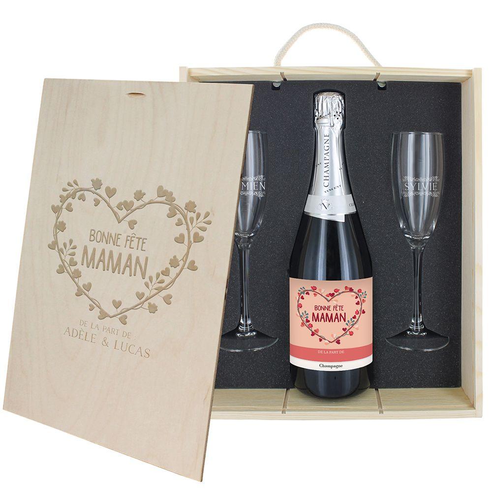 Amikado Coffret à Champagne personnalisé Bonne fête Maman