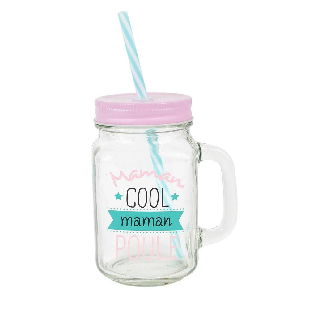 """Amikado Mason jar en verre avec paille """"Maman cool et poule"""""""