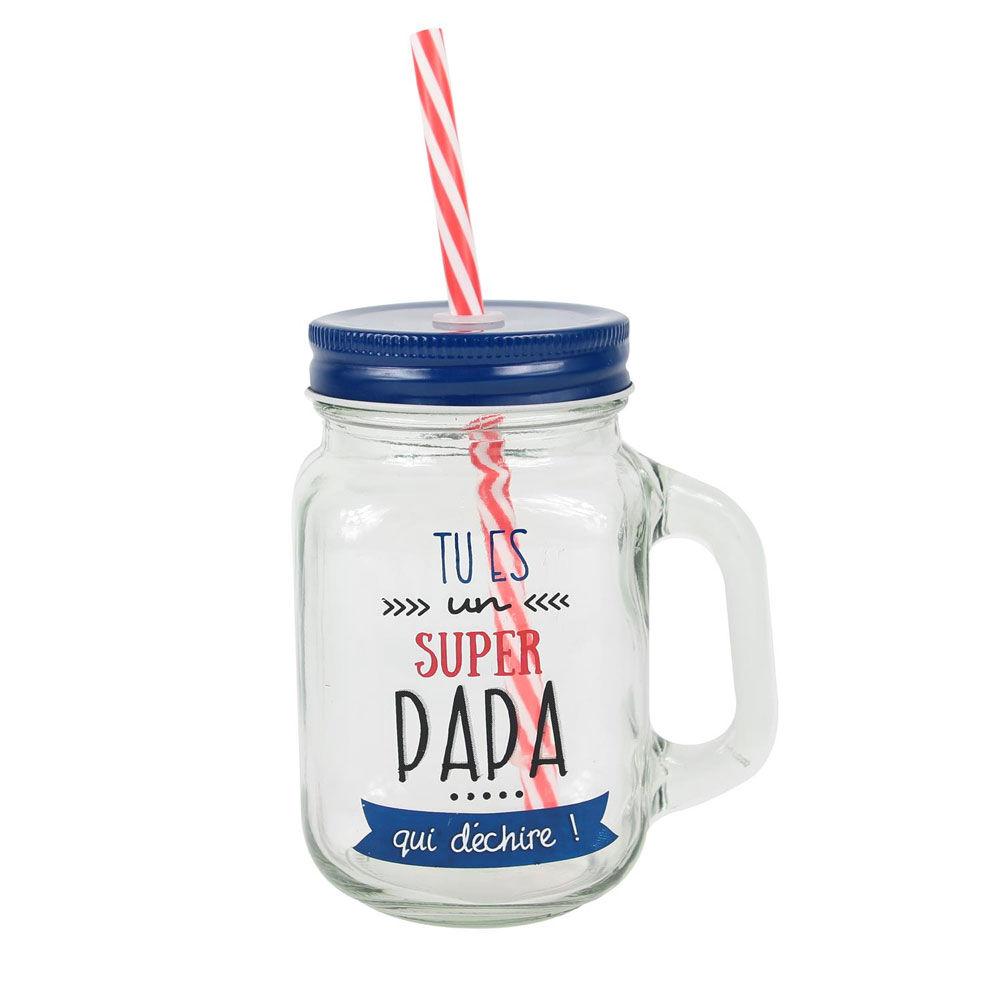 """Amikado Mason jar en verre avec paille """"Tu es un Super Papa"""""""
