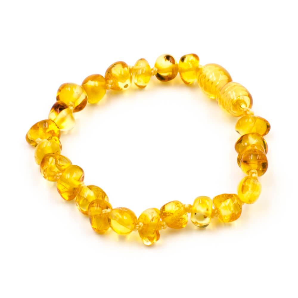123Ambre Bracelet Ambre Bébé Perles Baroques, Citron