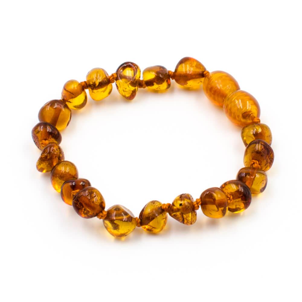 123Ambre Bracelet Ambre Bébé Perles Baroques, Cognac