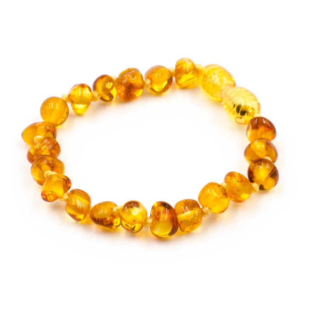 123Ambre Bracelet Ambre Bébé Perles Baroques, Miel