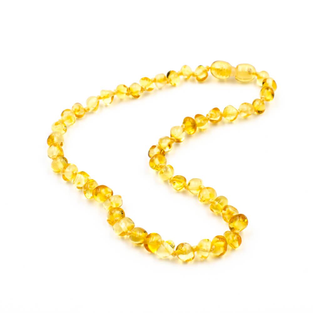 123Ambre Collier Ambre Bébé Perles Baroques, Citron