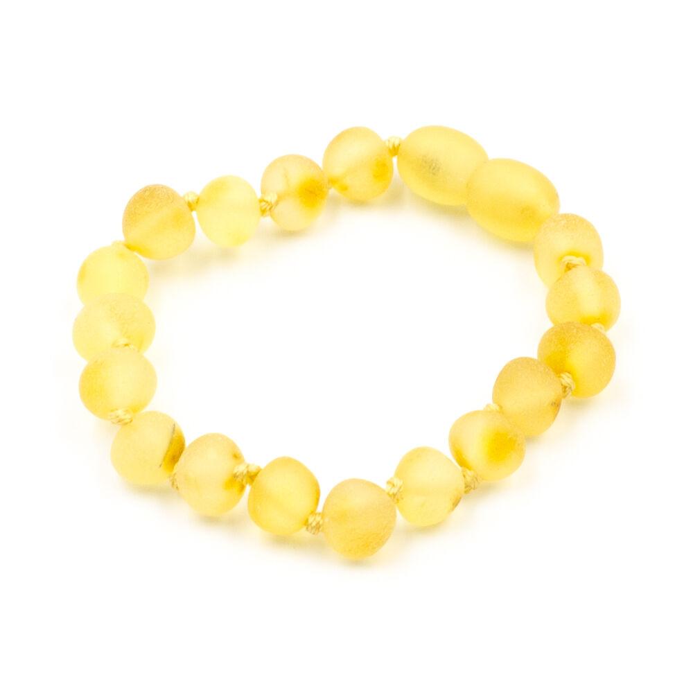 123Ambre Bracelet Ambre Bébé Perles Baroques Brutes, Citron