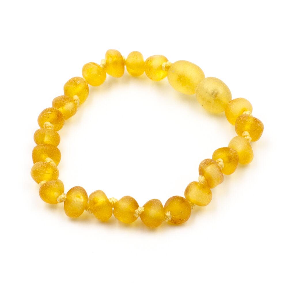 123Ambre Bracelet Ambre Bébé Perles Baroques Brutes, Miel