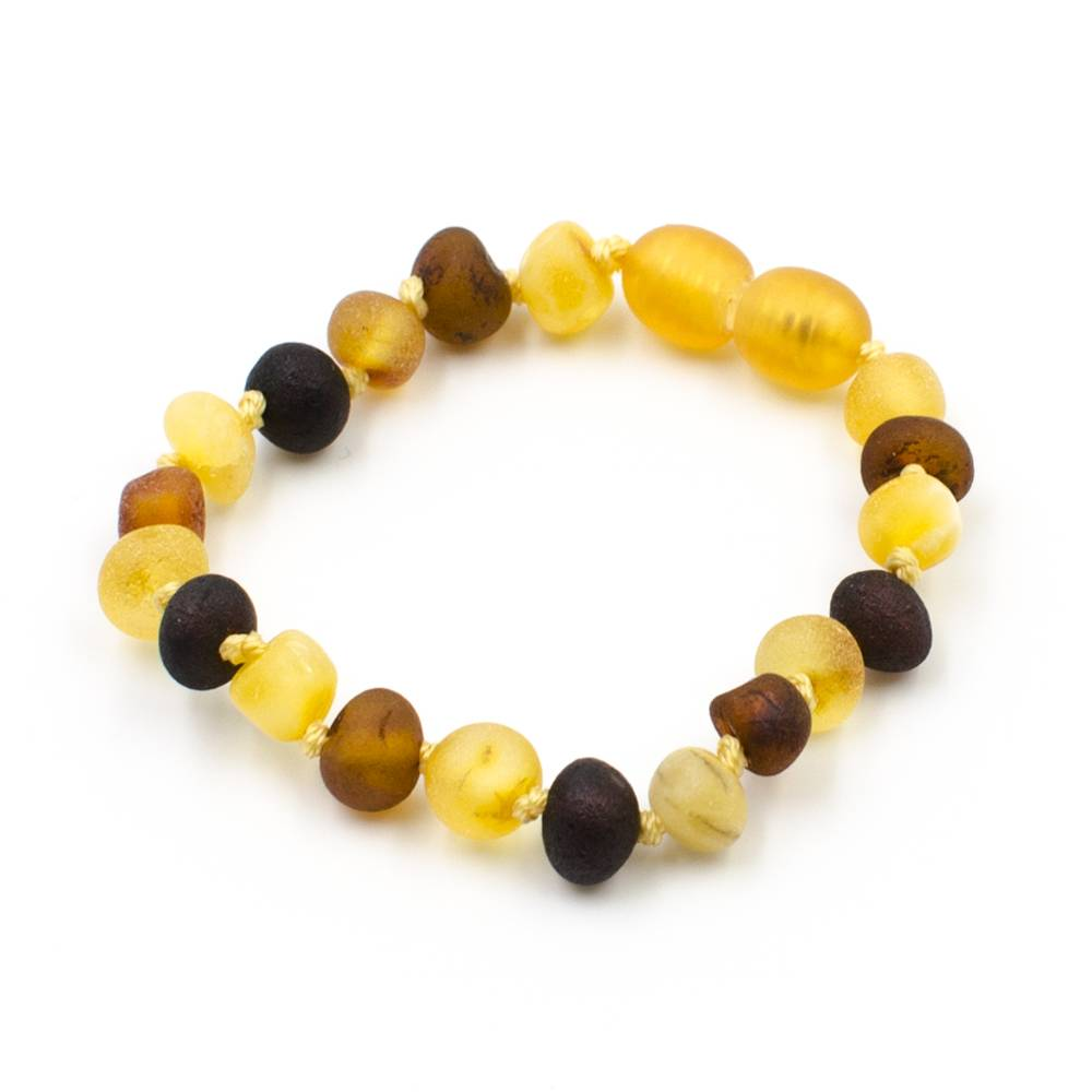 123Ambre Bracelet Ambre Bébé Perles Baroques Brutes Multicolore, 14cm