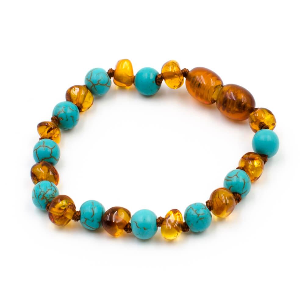123Ambre Bracelet Ambre Bébé Perles Baroques et Turquoise Bleue, 14cm