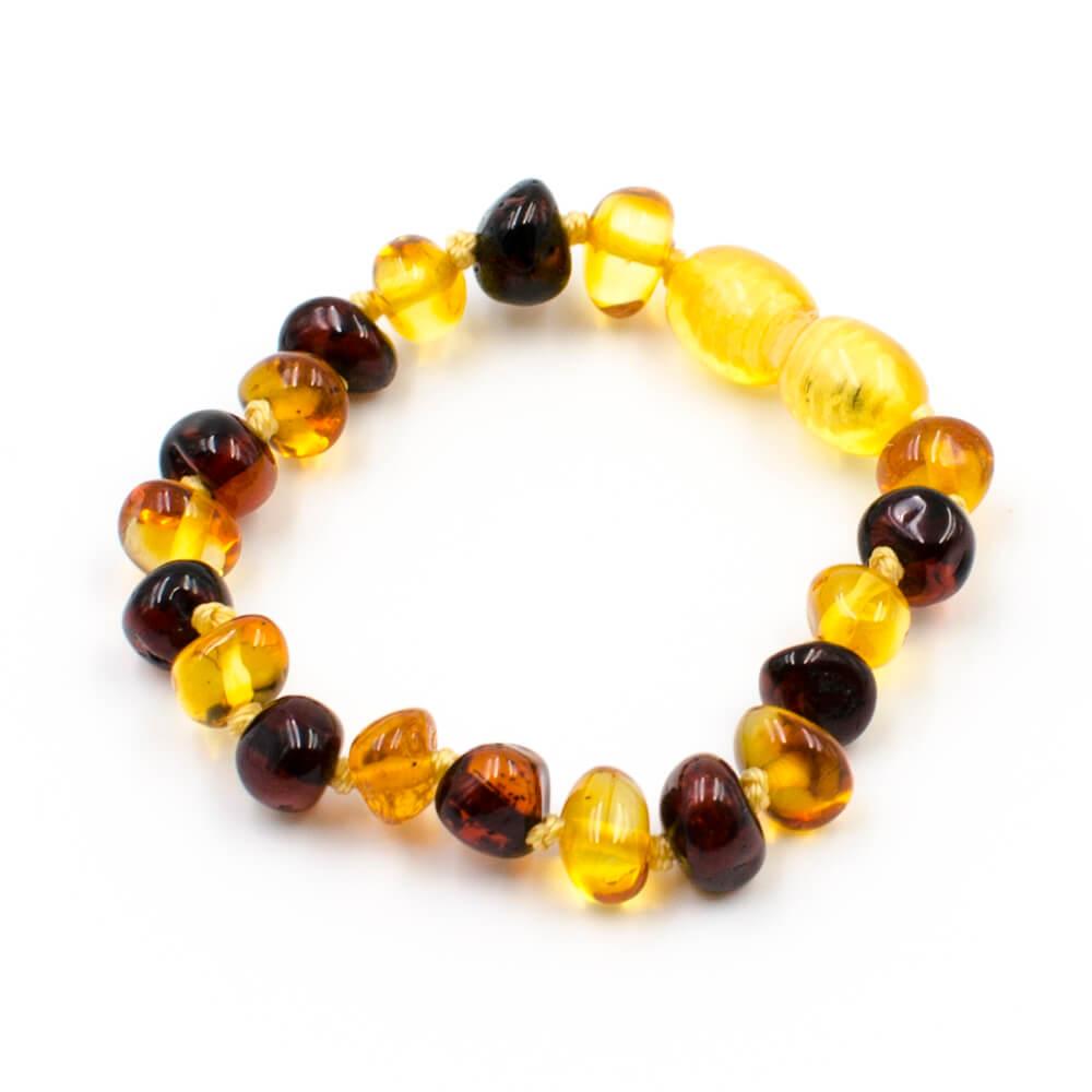 123Ambre Bracelet Ambre Bébé Perles Baroques 2 Couleurs, Miel/Cerise
