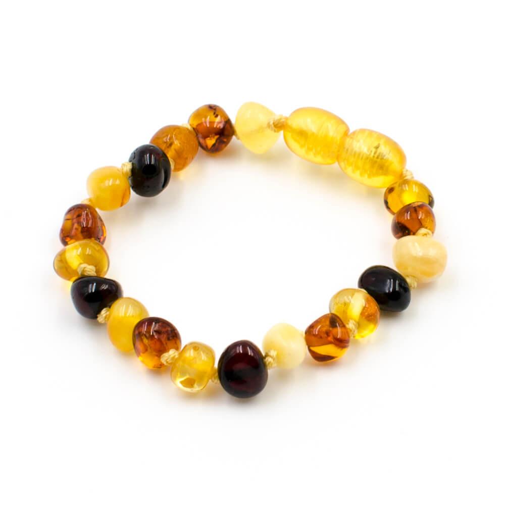 123Ambre Bracelet Ambre Bébé Perles Baroques Multicolore, 14cm