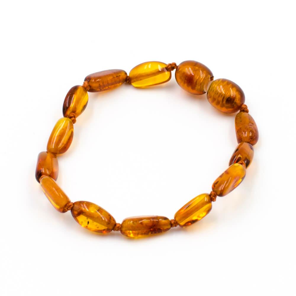 123Ambre Bracelet Ambre Bébé Perles Ovales, Cognac