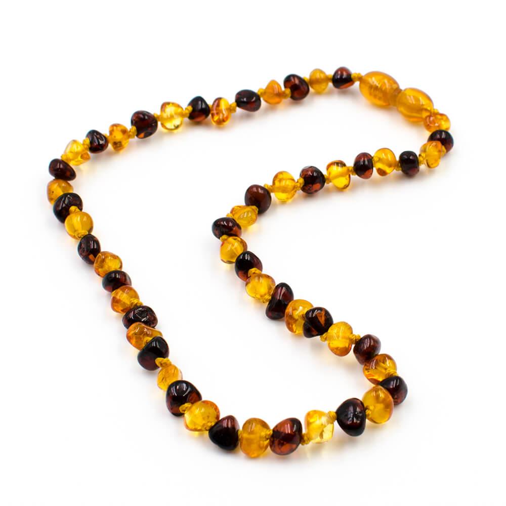 123Ambre Collier Ambre Bébé Perles Baroques 2 Couleurs, Miel/Cerise