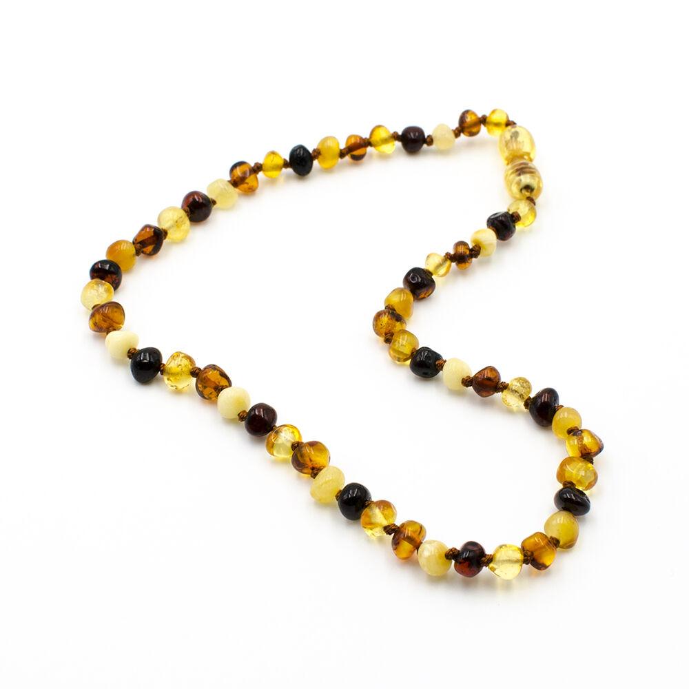 123Ambre Collier Ambre Bébé Perles Baroques Multicolore, 34cm