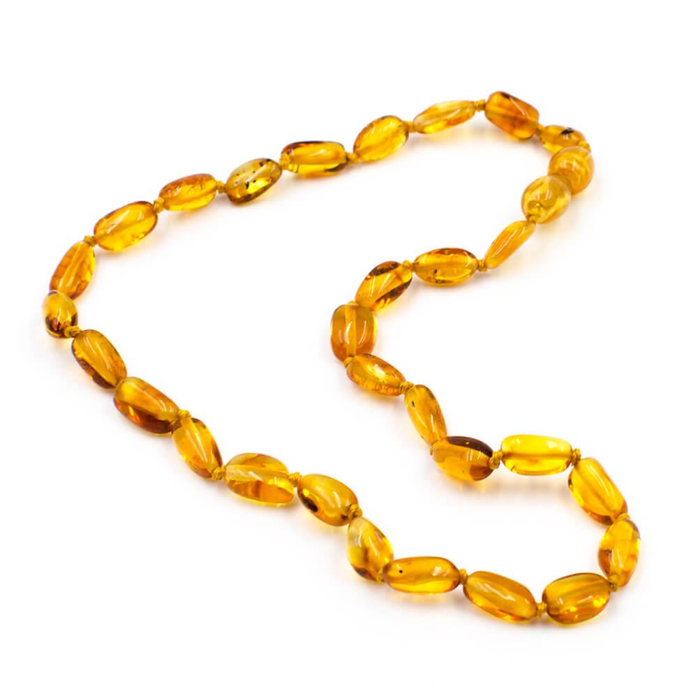 123Ambre Collier Ambre Bébé Perles Ovales, Miel