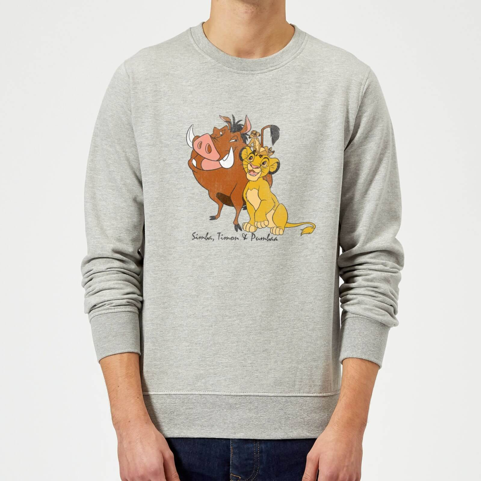 Disney Sweat Homme Simba Pumbaa Timon Le Roi Lion Disney - Gris - M - Gris