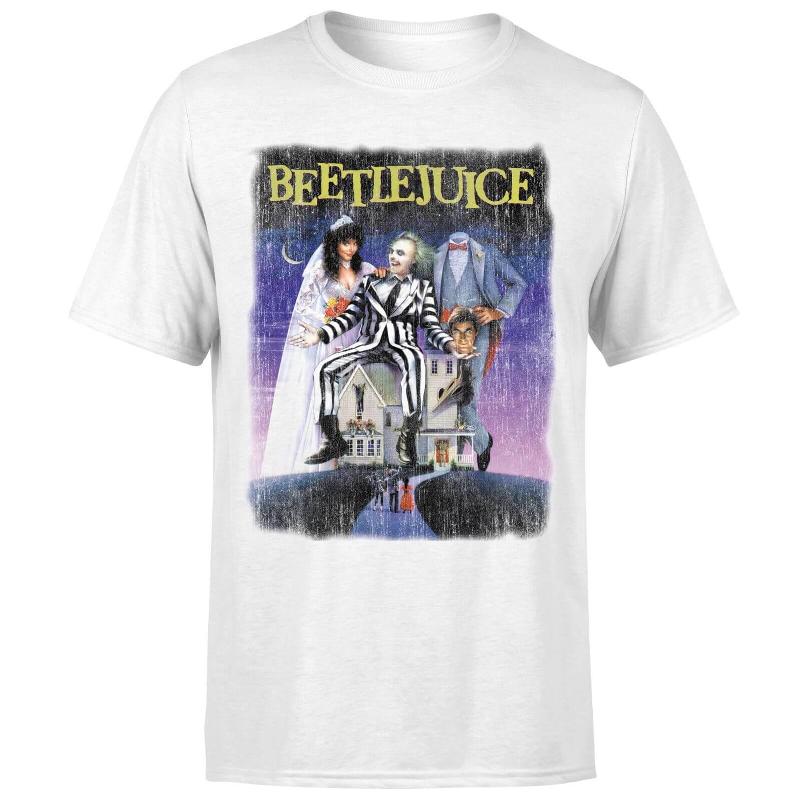 Beetlejuice T-Shirt Homme Affiche Abîmée Beetlejuice - Blanc - XS - Blanc