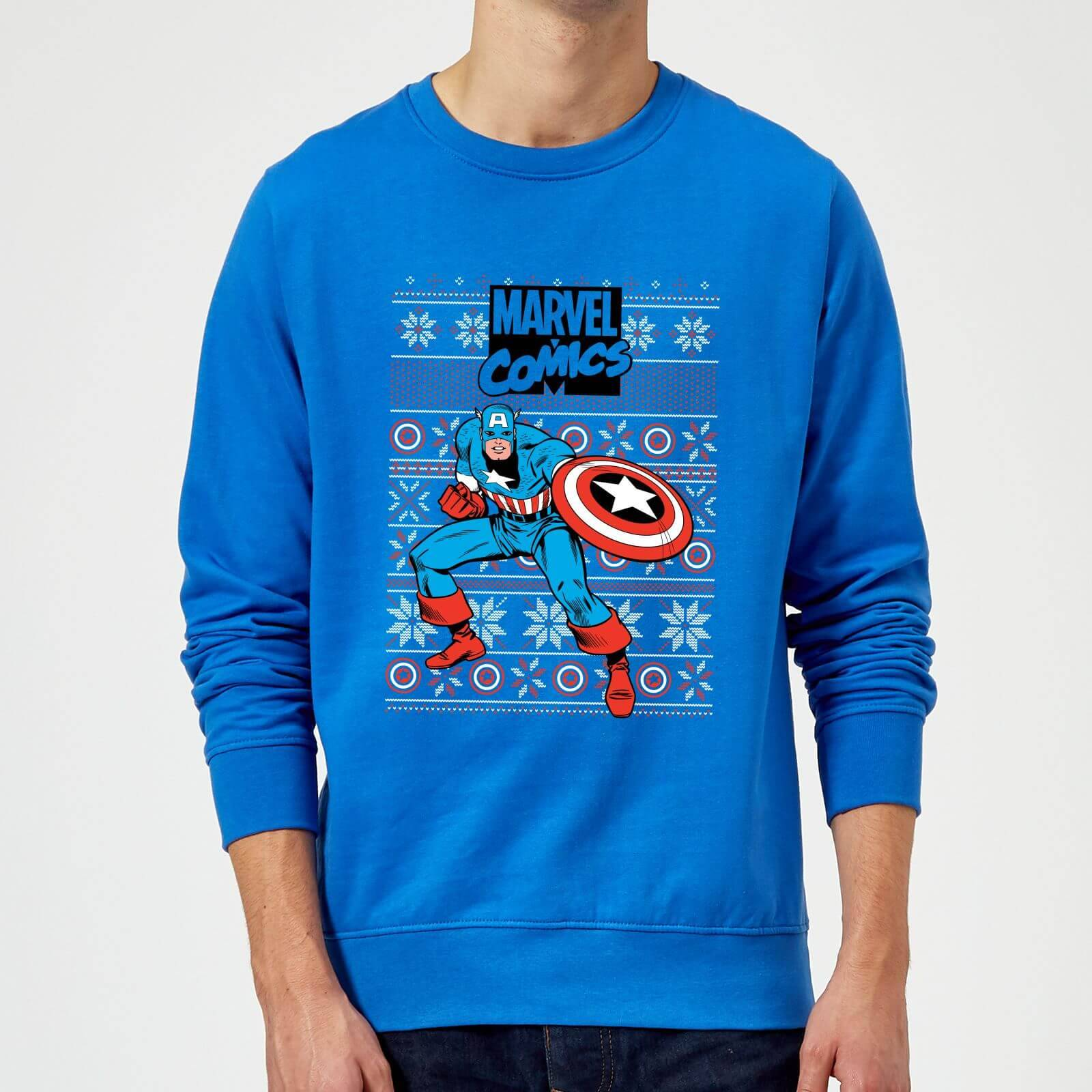 Marvel Pull de Noël Homme Marvel Avengers Captain America - Bleu Roi - XL - Royal Blue
