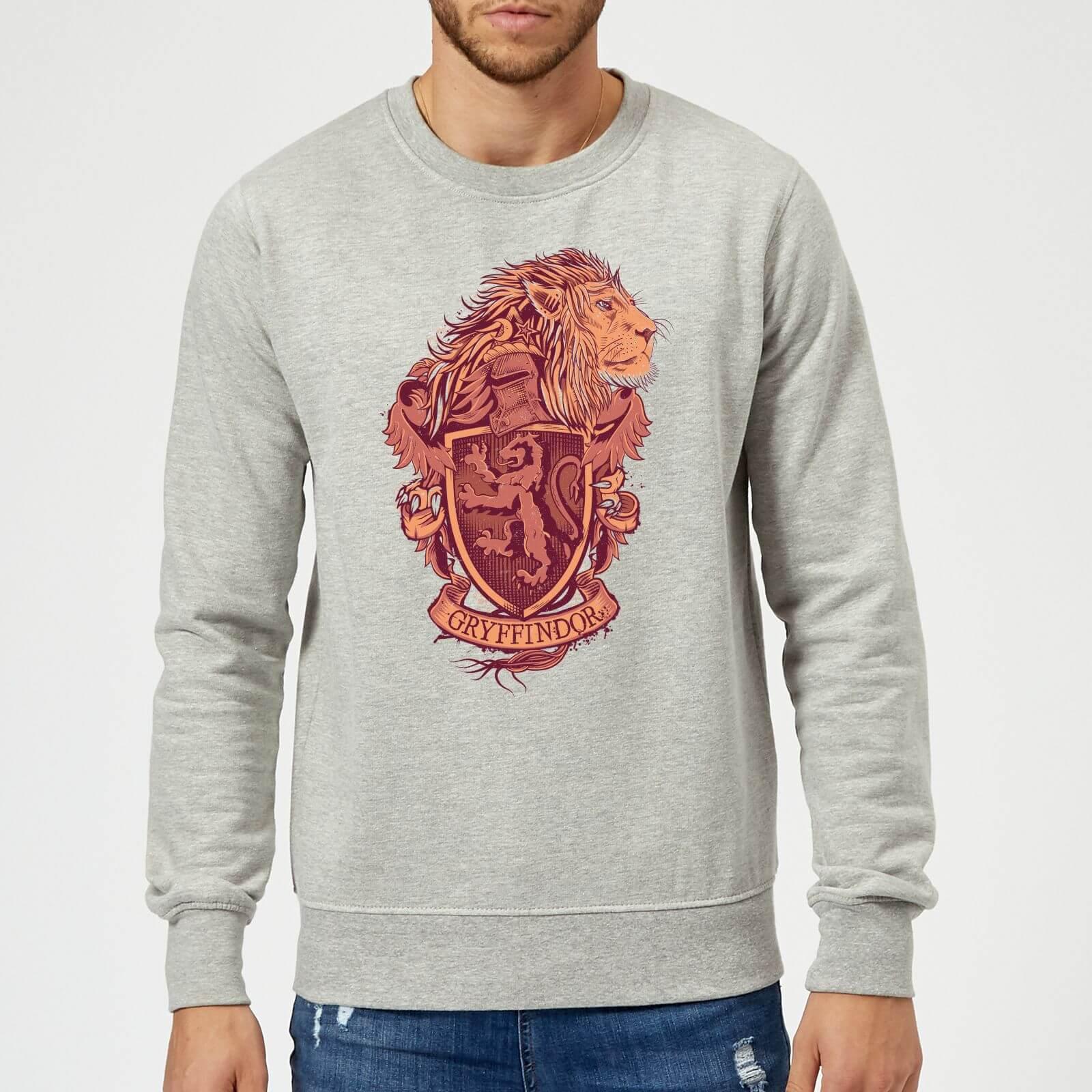 Harry Potter Gryffindor Drawn Crest Sweatshirt - Grey - M - Gris