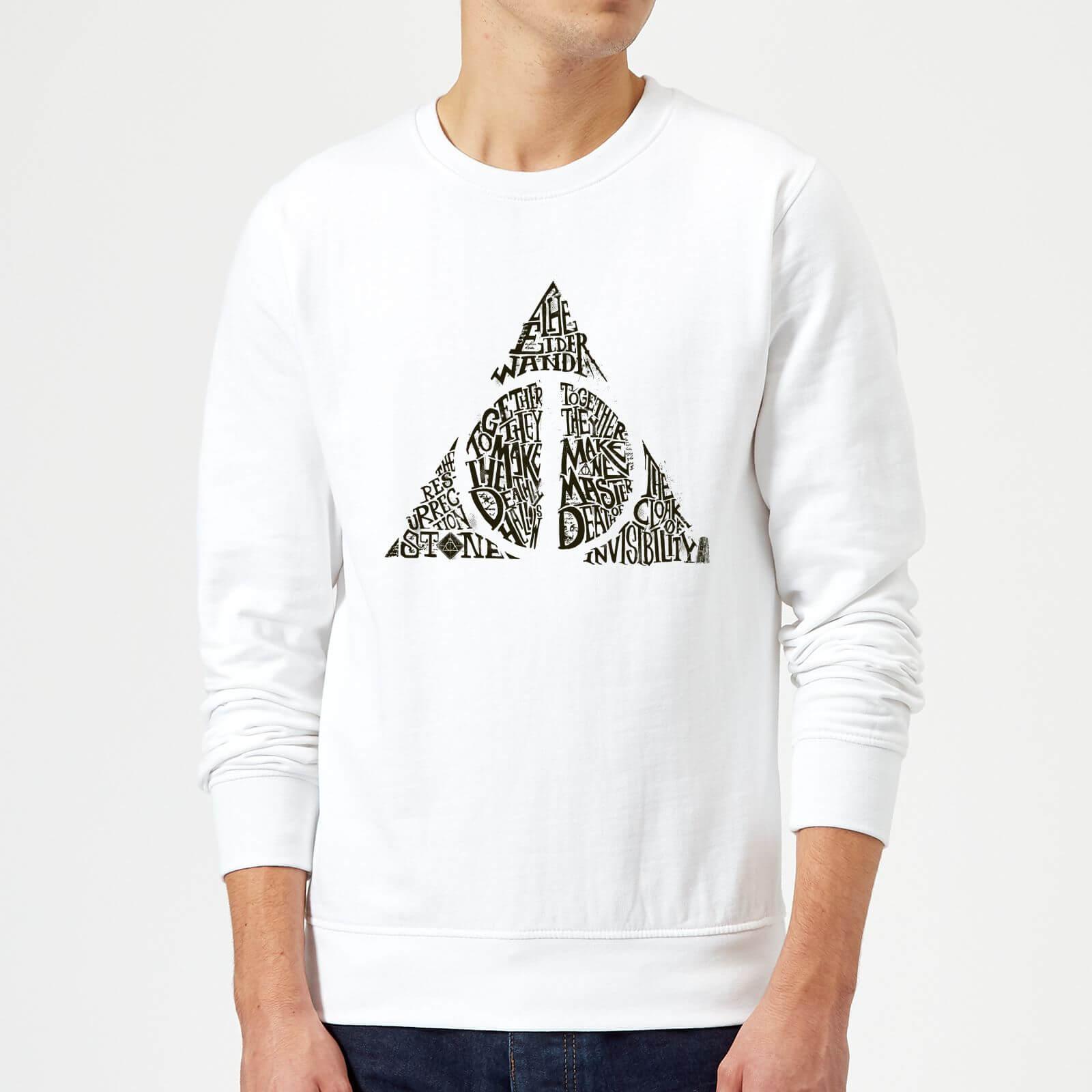 Harry Potter Deathly Hallows Text Sweatshirt - White - L - Blanc
