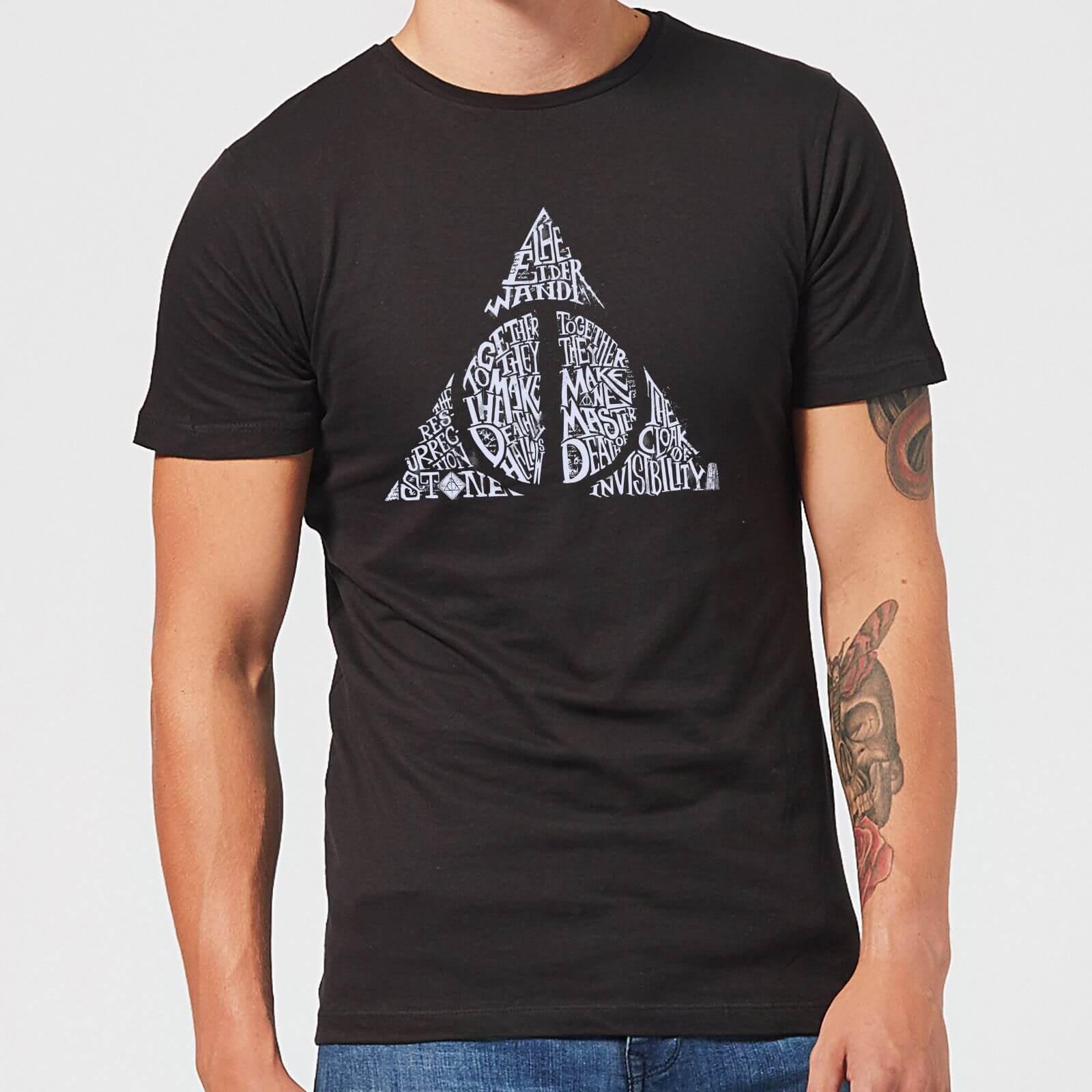 Harry Potter Deathly Hallows Text Men's T-Shirt - Black - S - Noir