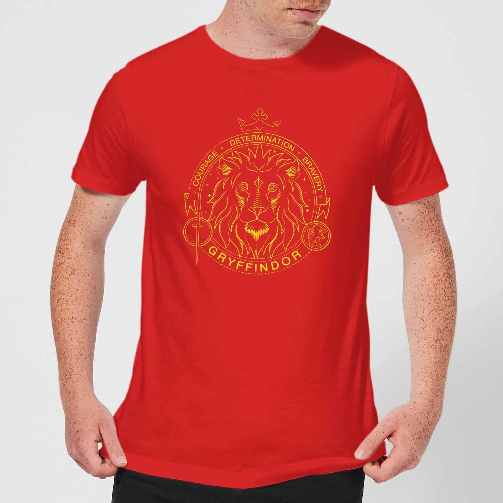 Harry Potter Gryffindor Lion Badge Men's T-Shirt - Red - S - Rouge