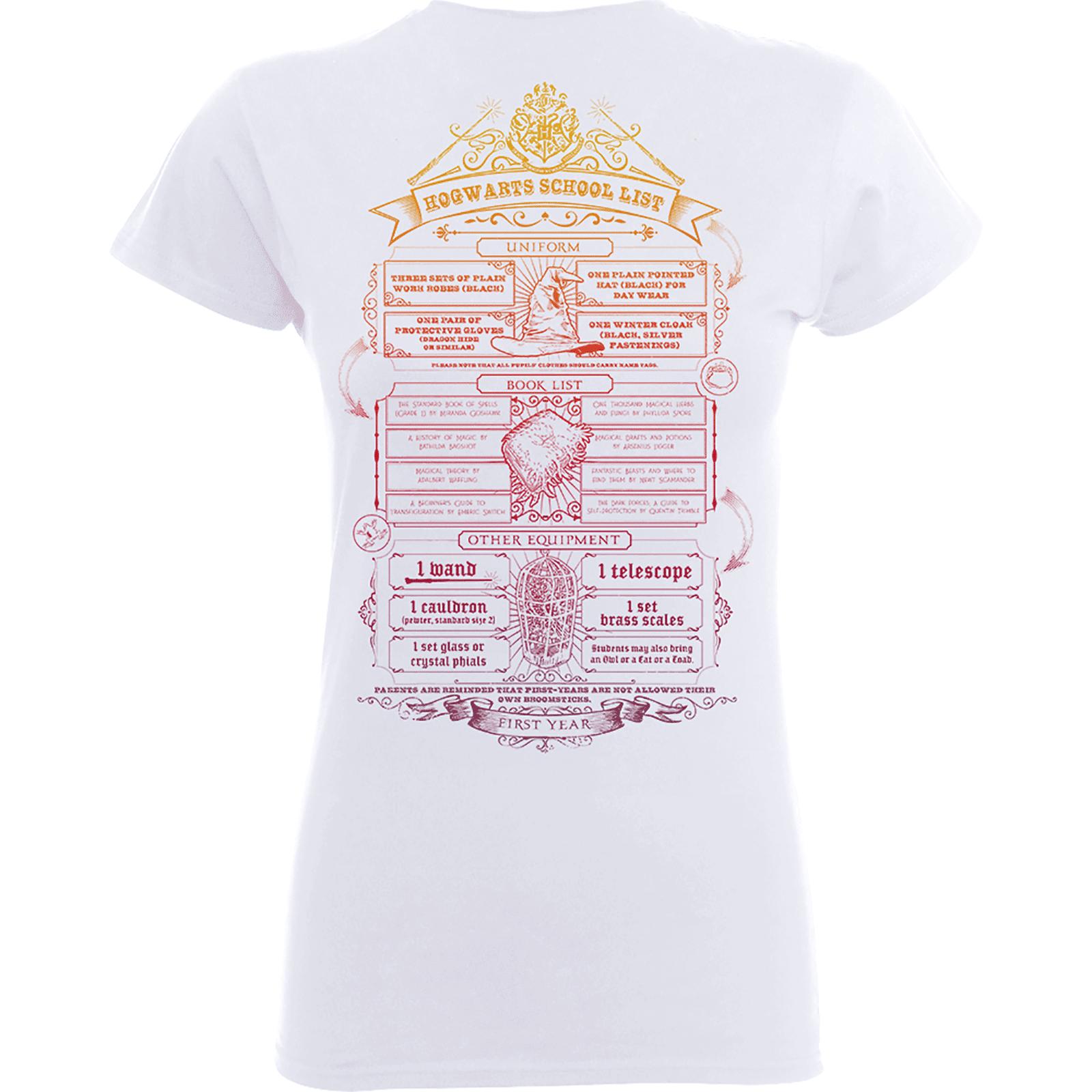 Harry Potter T-Shirt Femme Liste de Fournitures Poudlard - Harry Potter - Blanc - L