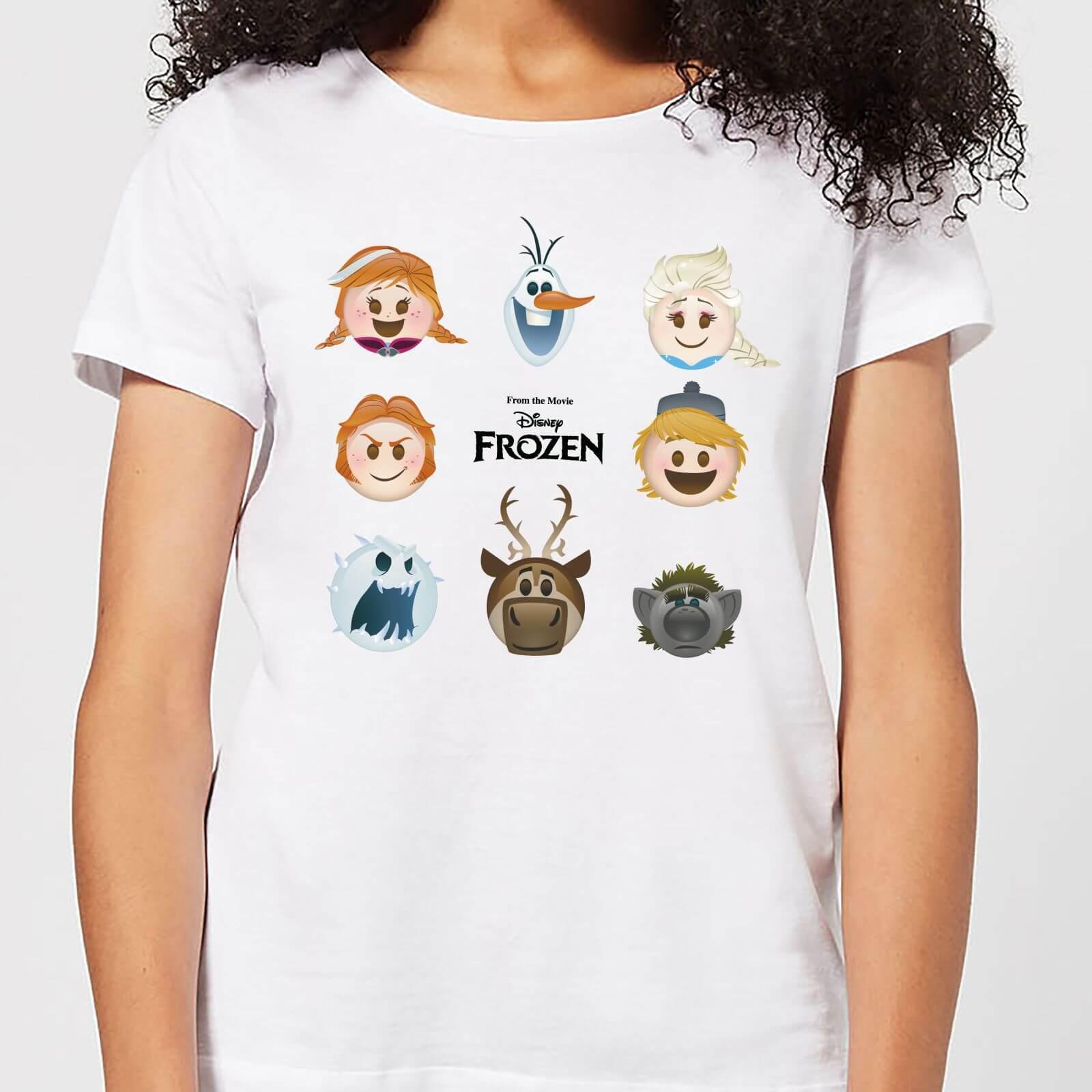 Frozen T-Shirt Femme La Reine des Neiges - Emoji - Blanc - XL - Blanc