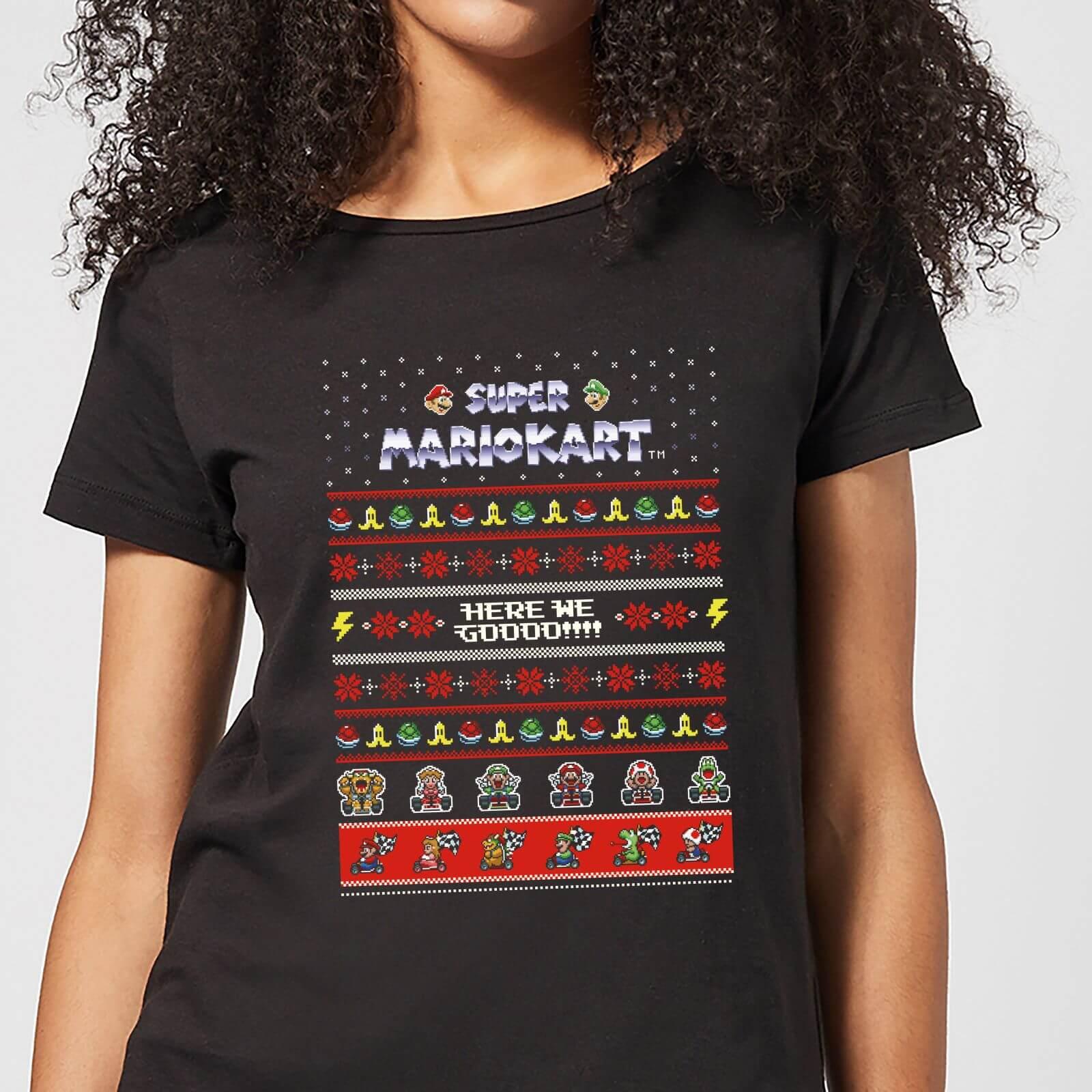 Nintendo Mario Kart Here We Go Women's Christmas T-Shirt - Black - L - Noir