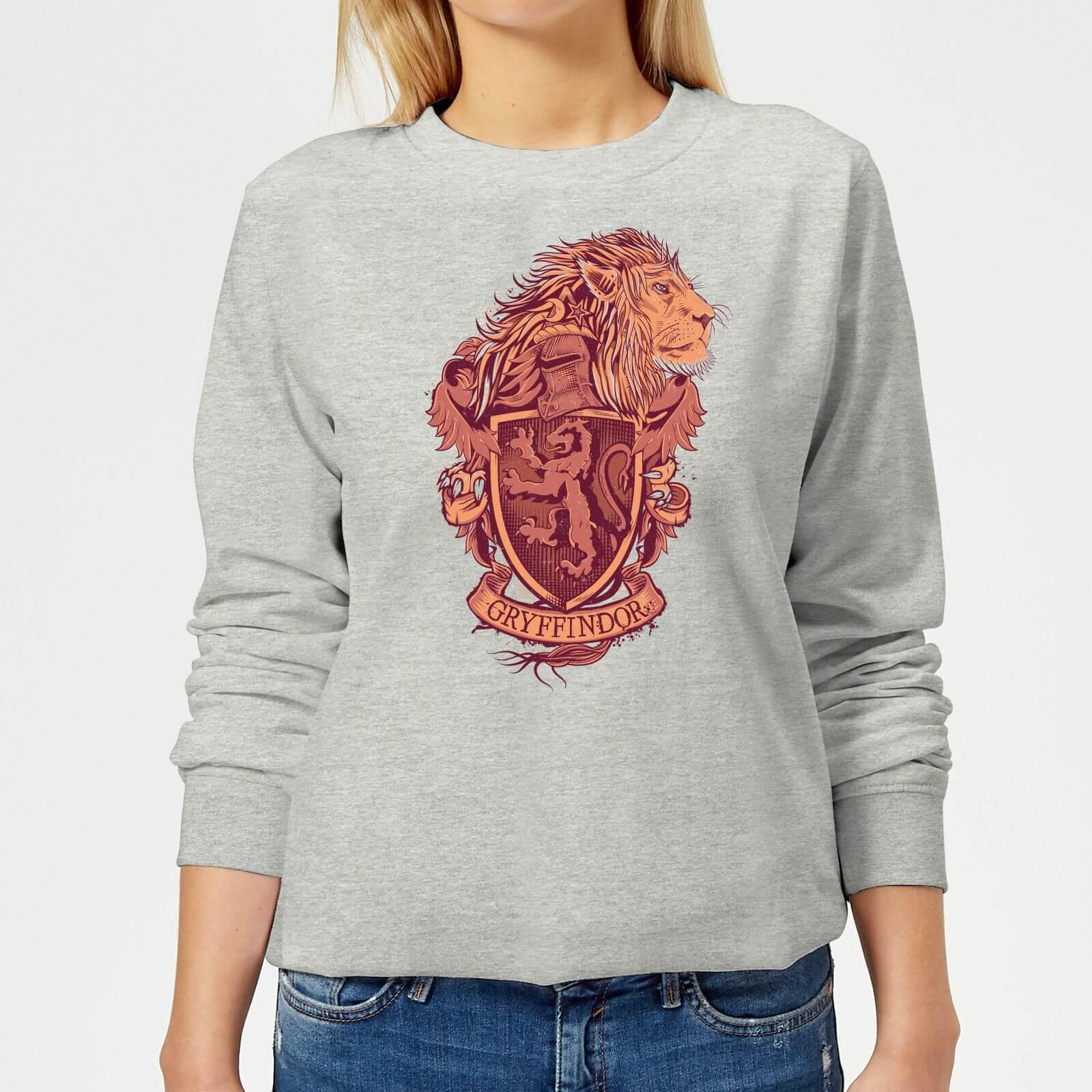 Harry Potter Gryffindor Drawn Crest Women's Sweatshirt - Grey - L - Gris