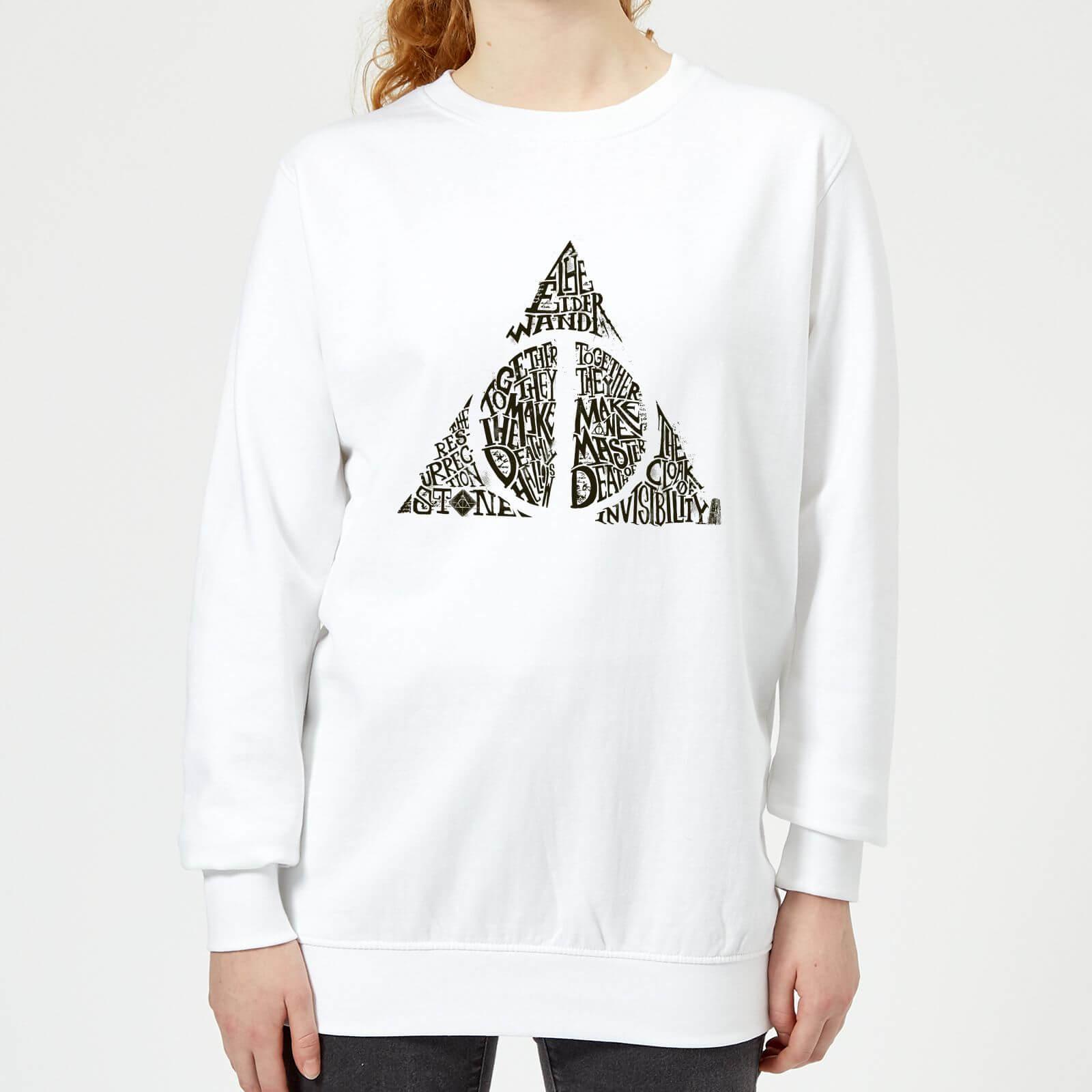 Harry Potter Deathly Hallows Text Women's Sweatshirt - White - L - Blanc