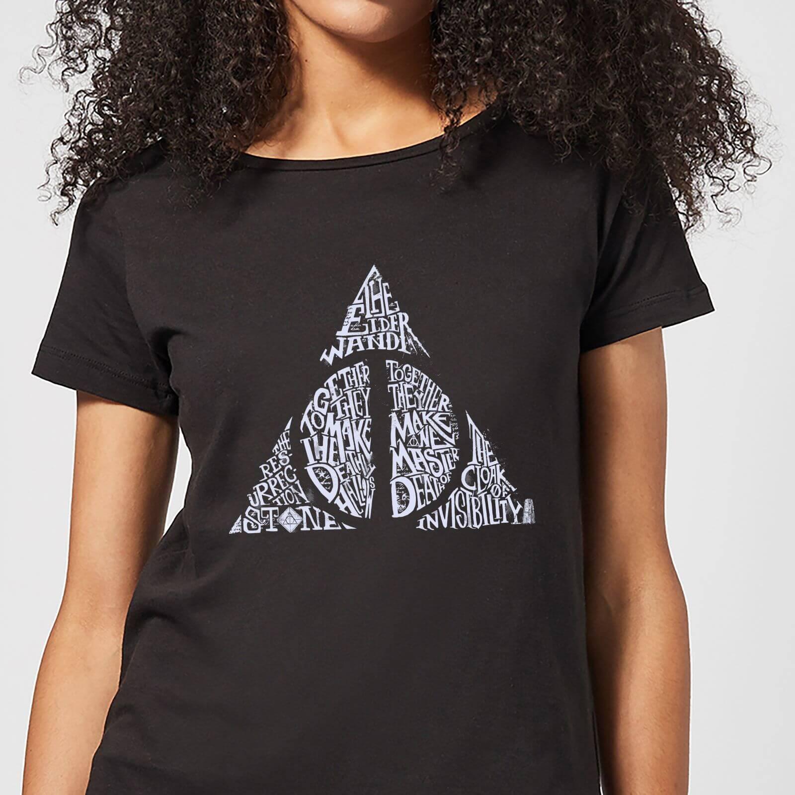 Harry Potter Deathly Hallows Text Women's T-Shirt - Black - S - Noir