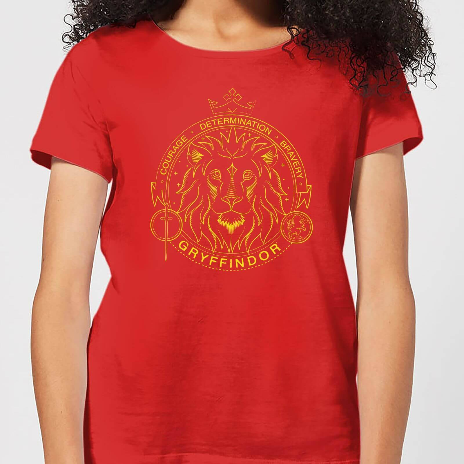 Harry Potter Gryffindor Lion Badge Women's T-Shirt - Red - S - Rouge