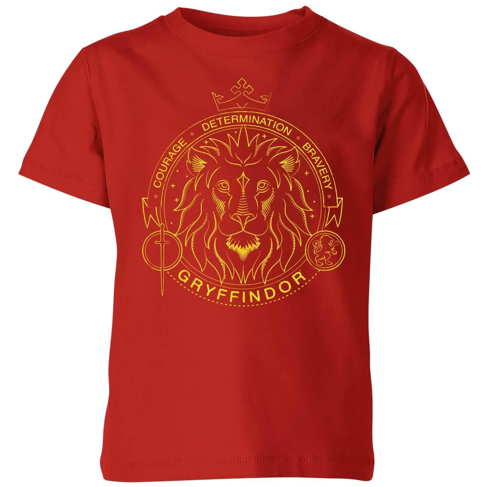 Harry Potter Gryffindor Lion Badge Kids' T-Shirt - Red - 7-8 ans - Rouge