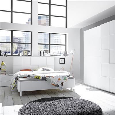 NOUVOMEUBLE Chambre complète design blanc laqué TIAVANO lit 160 cm