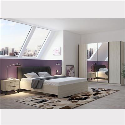 NOUVOMEUBLE Chambre à coucher complète moderne couleur bois clair ANYA