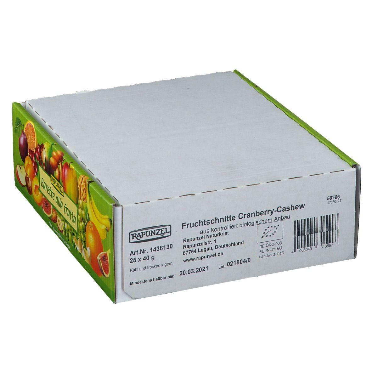 RAPUNZEL Barre énergétique Cranberry-Cajou Bio g barre(s)