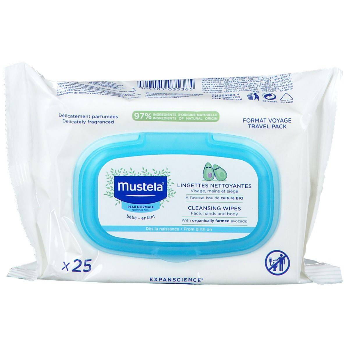 mustela® Bébé Enfant Lingettes Nettoyantes Peau Normale pc(s) lingette(s)