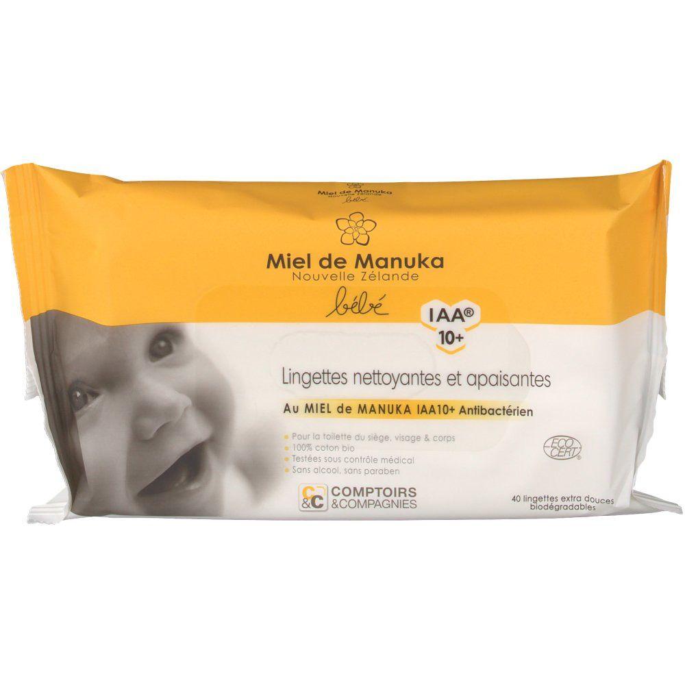Miel de Manuka Comptoirs & Compagnies Lingettes nettoyantes & apaisantes bébé certifiées bio miel de manuka IAA10+ pc(s) lingette(s)