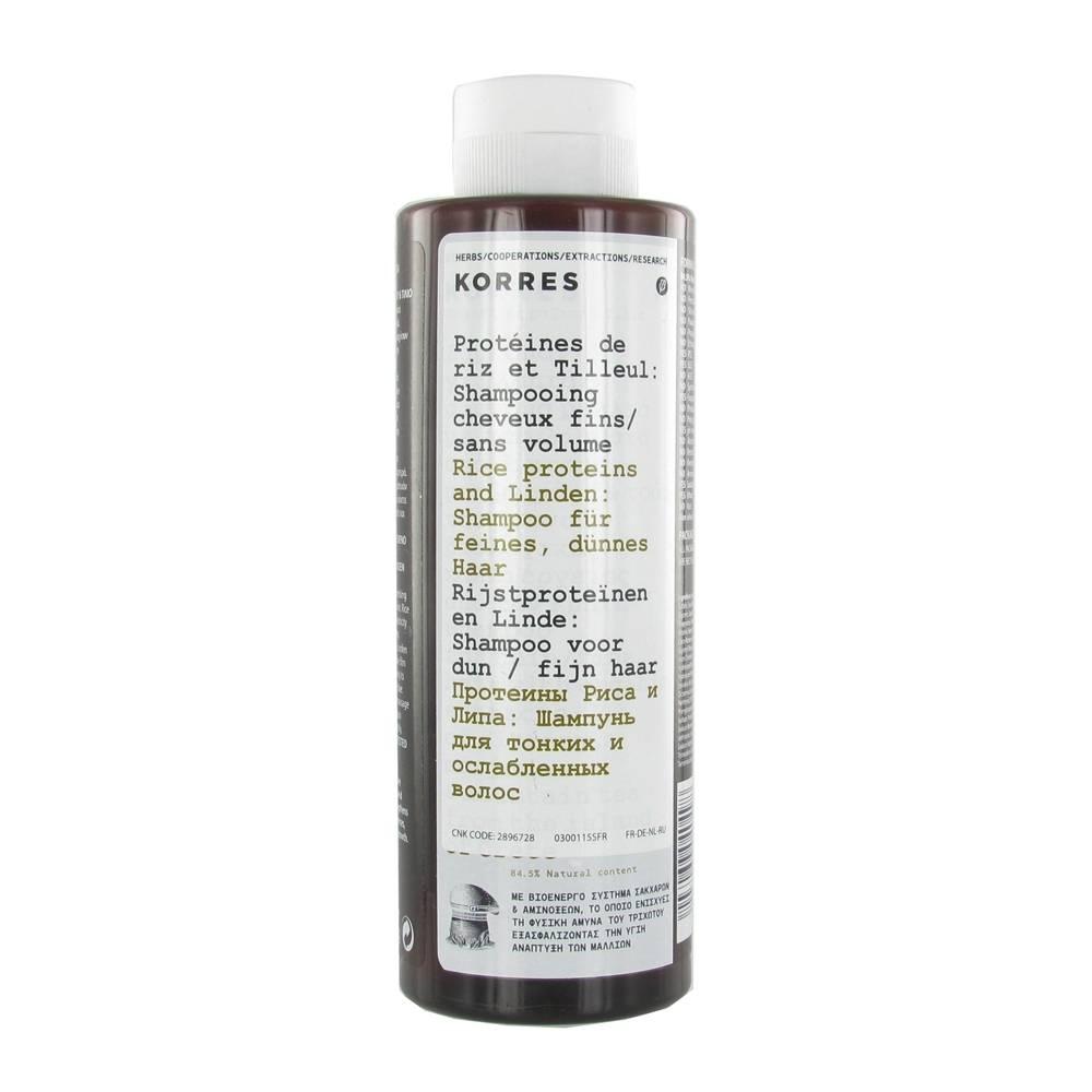 Greendock KORRES® Shampooing Protéines de riz et Tilleul ml shampooing
