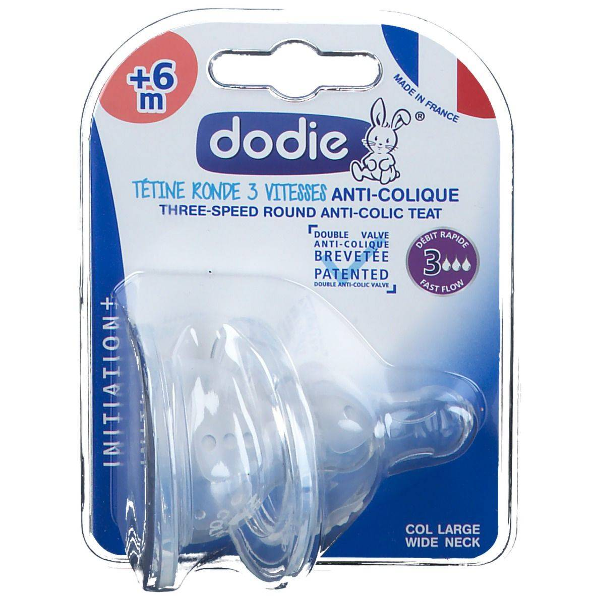 dodie® Tétine Initiation+ ronde 3 vitesses anti-colique +6mois pc(s) tétine(s)