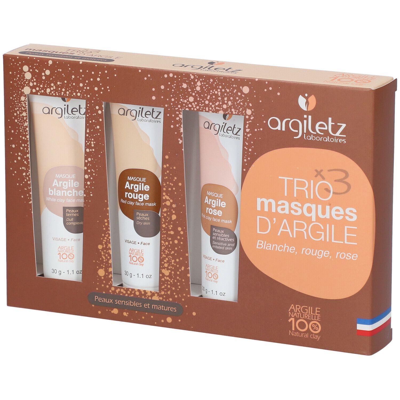 Argiletz TRIO masques d'Argile (blanche, rouge, rose) pc(s) set(s)