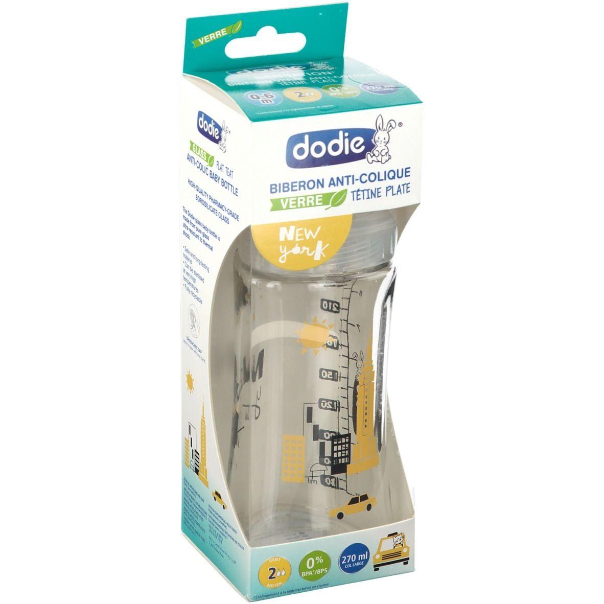 dodie® Dodie Biberon Sensation+ Verre 270ml anti-colique tétine ronde New York 0-6 Mois pc(s) Bouteilles