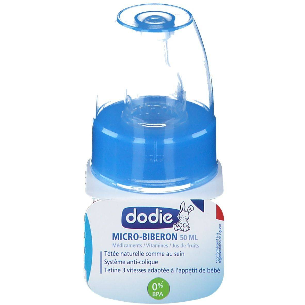 dodie® Micro biberon 50 ml bleu col étroit tétine 1er âge silicone ml Bouteilles